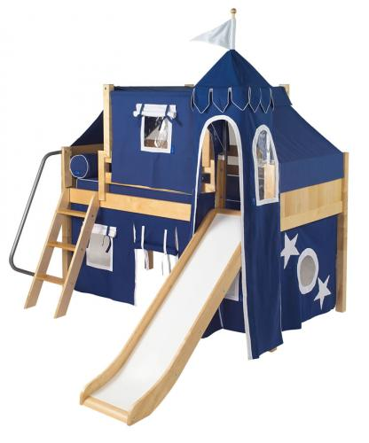 Navy Blue Castle Bed on Natural w/ slide by Maxtrix Kids (370)