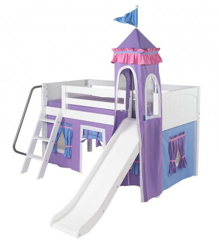Mini Castle Bed in White by Maxtrix Kids (Purple and Blue) (360)