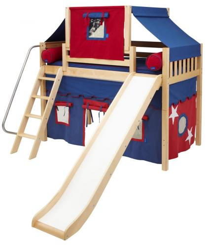2-Story Playhouse MID Loft Bed w/ Slide by Maxtrix Kids (blue/red on natural) (420.2)