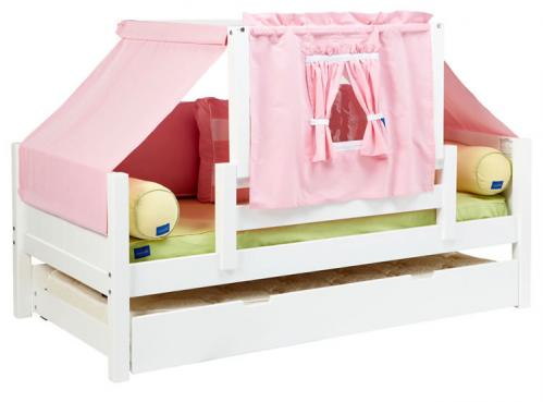 YO 23 Playhouse Bed w/ Toddler Safety Rail by Maxtrix Kids (Pink, Green and Yellow) (250)