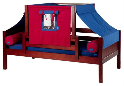 YO 21 Playhouse Bed w/ Toddler Safety Rail by Maxtrix Kids (Blue and Red) (250)