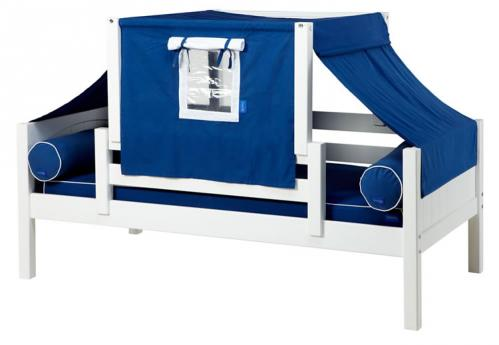 YO 22 Playhouse Bed in White w/ Toddler Safety Rail by Maxtrix Kids (Blue and White) (250)