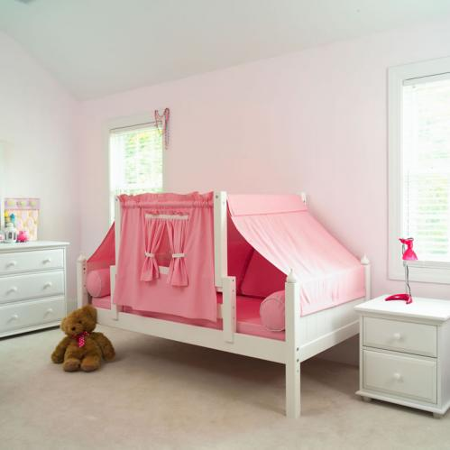 YO 23 Playhouse Bed w/ Toddler Safety Rail by Maxtrix Kids (Pink and White) (250)