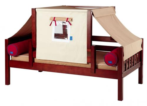 YO 30 Playhouse Bed in Chestnut w/ Toddler Safety Rail by Maxtrix Kids (Khaki and Red) (250)