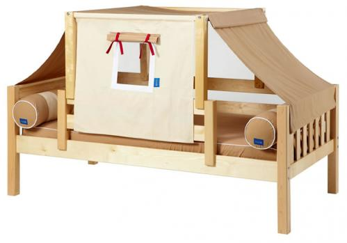 YO 30 Playhouse Bed in Natural w/ Toddler Safety Rail by Maxtrix Kids (Khaki and Red) (250)