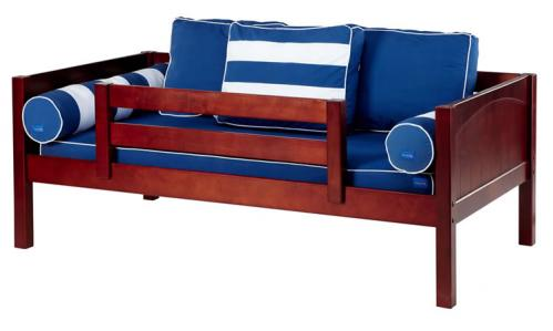 Chestnut Day Bed with Safety Rail by Maxtrix Kids (Blue and White) (240)