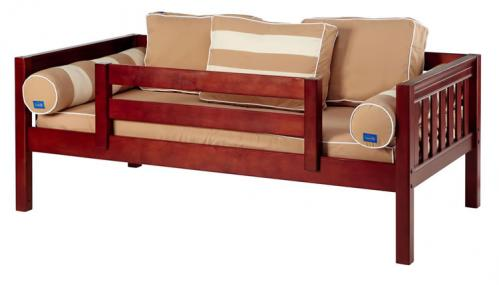 Chestnut Day Bed with Safety Rail by Maxtrix Kids (Khaki) (240)