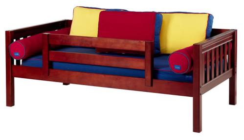 Chestnut Day Bed with Safety Rail by Maxtrix Kids (Blue, Red and Yellow) (240)
