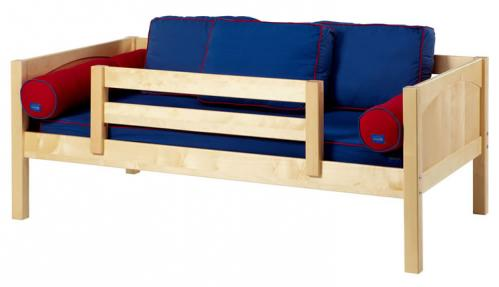 Natural Day Bed with Safety Rail by Maxtrix Kids (Blue and Red) (240)