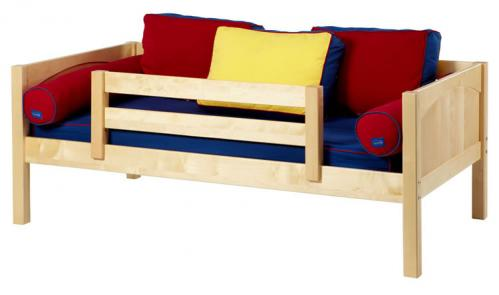 Natural Day Bed with Safety Rail by Maxtrix Kids (Blue, Red and Yellow) (240)