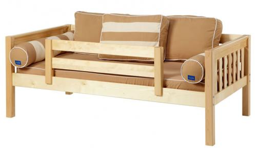 Natural Day Bed with Safety Rail by Maxtrix Kids (Khaki) (240)