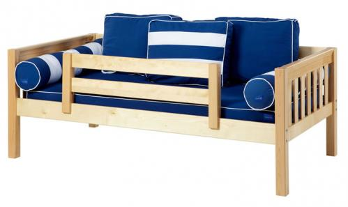 Natural Day Bed with Safety Rail by Maxtrix Kids (Blue and White) (240)