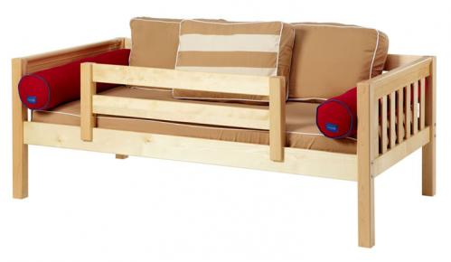 Natural Day Bed with Safety Rail by Maxtrix Kids (Khaki and Red) (240)