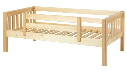 Natural Day Bed with Safety Rail by Maxtrix Kids (Slats) (240)