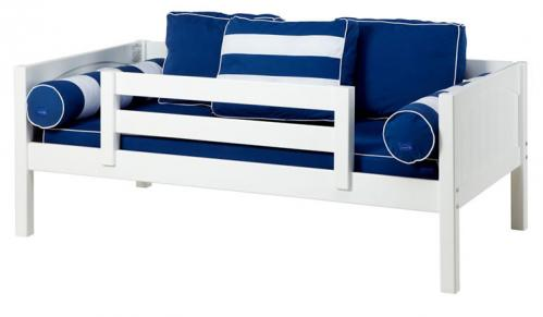 White Day Bed with Safety Rail by Maxtrix Kids (Blue and White) (240)