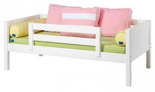 White Day Bed with Safety Rail by Maxtrix Kids (Pink, Green and Yellow) (240)