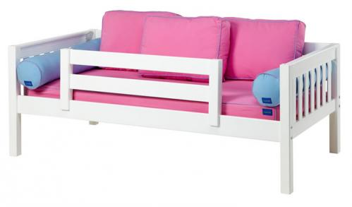 White Day Bed with Safety Rail by Maxtrix Kids (Hot Pink and Blue) (240)