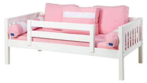 White Day Bed with Safety Rail by Maxtrix Kids (Pink and White) (240)