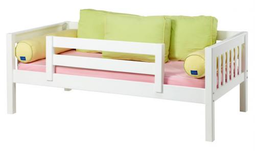White Day Bed with Safety Rail by Maxtrix Kids (Green, Pink and Yellow) (240)