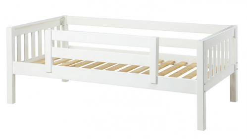 White Day Bed with Safety Rail by Maxtrix Kids (Slats) (240)