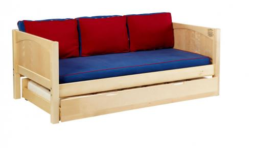 Natural Daybed by Maxtrix Kids w/Red and Blue (230)
