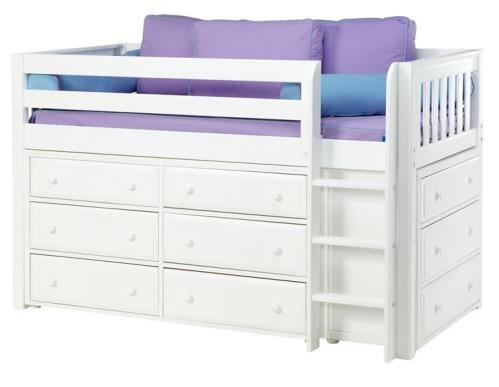 Box Storage Bed in White w/ Slats by Maxtrix Kids (Purple and Blue) (600)