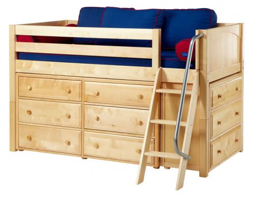 Kicks Storage Bed in Natural w/ Panels by Maxtrix Kids (Blue and Red) (600)