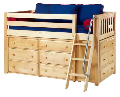 Kicks Storage Bed in Natural w/ Slats by Maxtrix Kids (Blue and Red) (600)