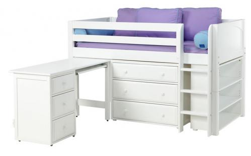 White Box 3 Storage Bed w/ Desk and Panels (Purple and Blue) (606)