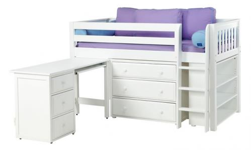 White Box 3 Storage Bed w/ Desk and Slats (Purple and Blue) (606)