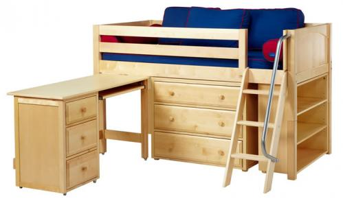 Natural Kicks 3 Storage Bed w/ Desk and Panels (Blue and Red) (606)