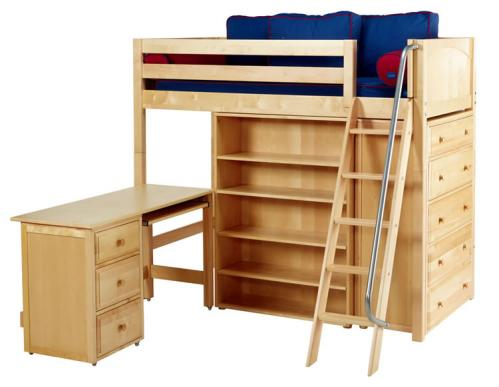 Natural Emperor 3 Storage Bed w/ Panel by Maxtrix Kids (Blue and Red) (668)