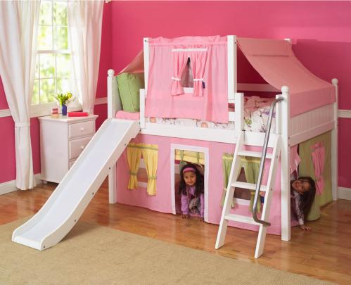 2-Story Playhouse Loft Bed w/ Slide (pink/green/yellow on white)