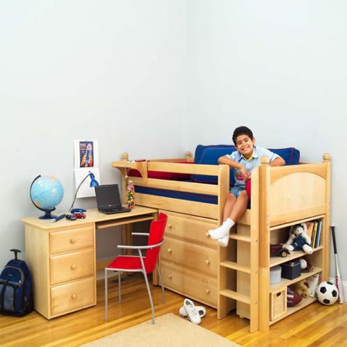 Boys Storage Bed With Desk By Maxtrix Kids Natural Wood