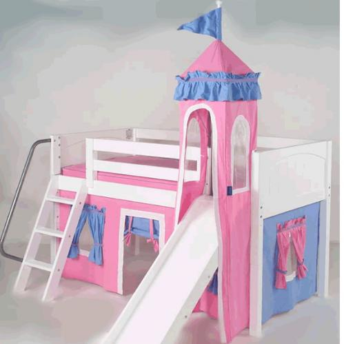 Mini Castle Bed for Girls in White by Maxtrix Kids (hot pink/blue) (360)