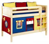 Bunk Bed by Maxtrix Kids with Panel Bed Ends (blue, red, yellow on natural) (700.1)
