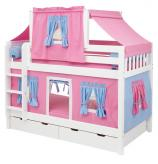 Pink and Blue Tent Bunk Bed on White by Maxtrix (Slat) (700.2)