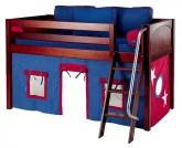 Maxtrix Blue and Red Tent Bed in Chestnut (Panel Bed Ends) (300.1)