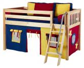 Maxtrix Blue, Red and Yellow Tent Bed in Natural (Slat Bed Ends) (300.1)