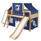 2-Story Play Fort LOW Loft Bed by Maxtrix Kids (blue/white on natural) (320.2)