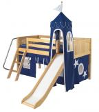 Mini Castle Bed in Natural by Maxtrix Kids (Blue and White) (360)