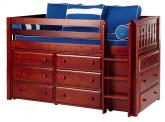 Box Storage Bed in Chestnut w/ Slats by Maxtrix Kids (Blue and White) (600)