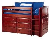 Box Storage Bed in Chestnut w/ Panels by Maxtrix Kids (Blue and White) (600)