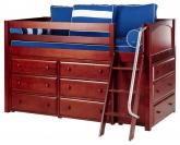Kicks Storage Bed in Chestnut w/ Panels by Maxtrix Kids (Blue and White) (600)