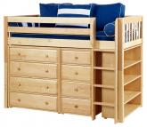 Natural Bling 2 Storage Bed w/ Slats by Maxtrix Kids (Blue and White) (634)