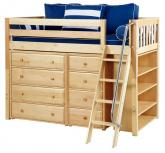 Natural Kaching 2 Storage Bed w/ Slats by Maxtrix Kids (Blue and White) (634)