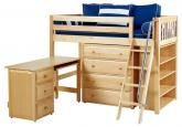 Natural Kaching 3 Storage Bed w/ Slats (Blue and White) (636)