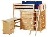 Natural Emperor 3 Storage Bed w/ Slats by Maxtrix Kids (Blue and Red) (668)
