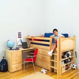 Boy's Storage Bed with Desk by Maxtrix Kids (natural wood) (606)
