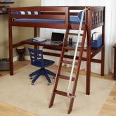 Maxtrix Kids High Loft Bed with Long Desk in Chestnut (550)